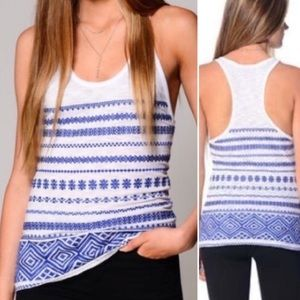 {Sam Edelman} Blue Embroidered Racerback Tank